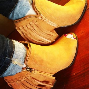 DV booties from Target, love them with jeans and leggings. The peep toe is great!
